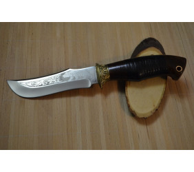 """Нож """"Медведь"""" С бронзовым литьем и кожей"""